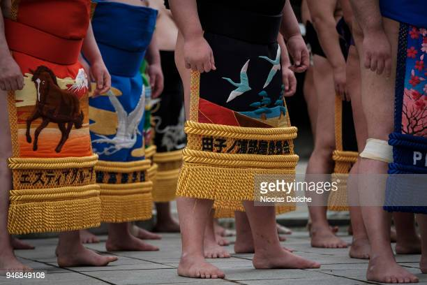 Wrestlers attend a purification ceremony during 'Honozumo' ceremonial on April 16, 2018 in Tokyo, Japan. This annual offering of a Sumo Tournament to...