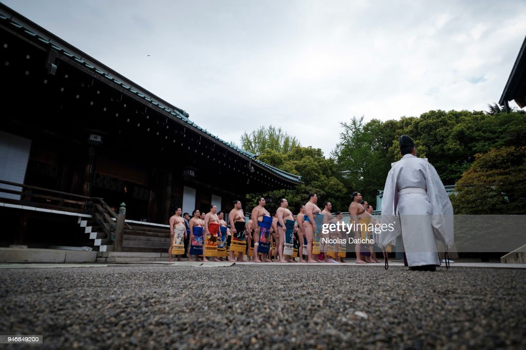 Wrestlers attend a purification ceremony during 'Honozumo' ceremonial on April 16, 2018 in Tokyo, Japan. This annual offering of a Sumo Tournament to the divine at the Yasukuni Shrine has taken place since 1869.