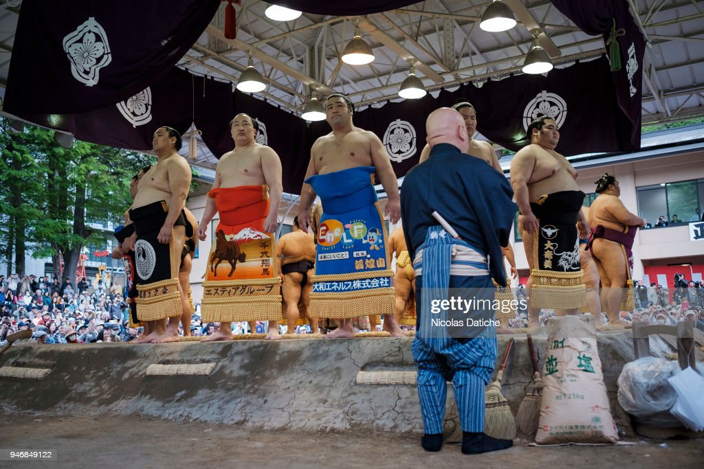 Wrestlers attend 'Honozumo' ceremonial on April 16, 2018 in Tokyo, Japan. This annual offering of a Sumo Tournament to the divine at the Yasukuni Shrine has taken place since 1869.
