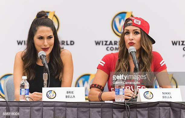 WWE wrestlers Brie Bella and Nikki Bella of The Bella Twins attend Wizard World Comic Con Philadelphia 2016 Day 4 at Pennsylvania Convention Center...