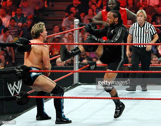 Wrestlers Chris Jericho and MVP compete during the WWE Monday Night Raw show at the Thomas Mack Center August 24 2009 in Las Vegas Nevada