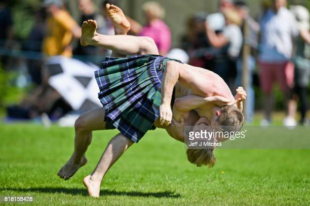 Wrestlers compete at Inveraray Highland Games on July 18 2017 in Inverarary Scotland The Games celebrate Scottish culture and heritage with field and...