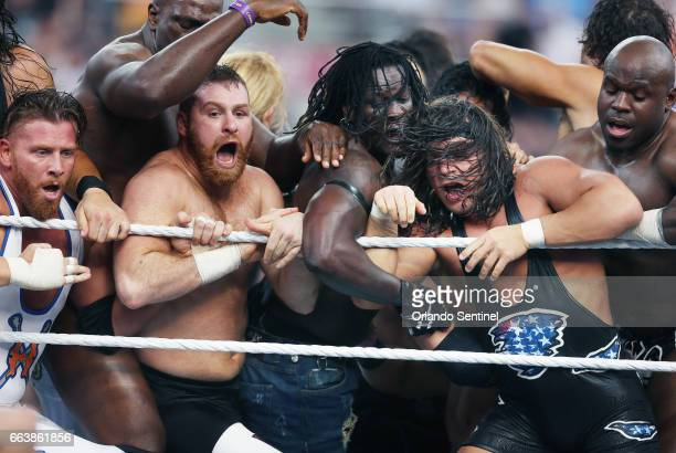Wrestlers compete in the Battle Royal during WrestleMania 33 on Sunday April 2 2017 at Camping World Stadium in Orlando Fla