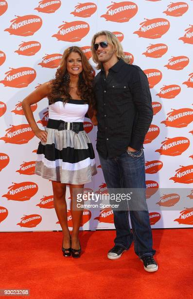 WWE Wrestlers Diva Eve and Superstar Edge arrive for the Australian Nickelodeon Kids' Choice Awards 2009 at Hisense Arena on November 13 2009 in...