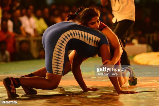 Wrestlers in action during the Maharashtra Kesari on December 23 2017 in Pune India