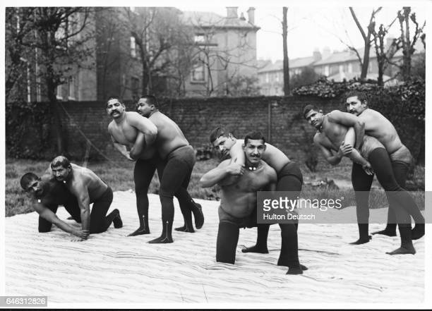Wrestlers Indian team groups of Ahore in training 1911