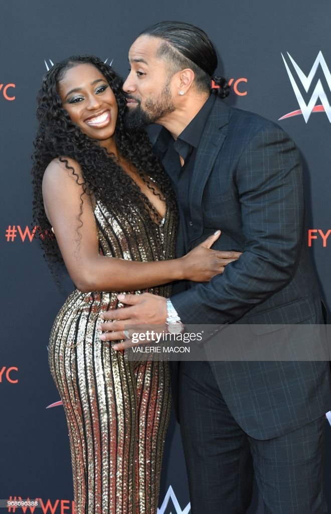 Wrestlers Jimmy Uso and his wife wrestler Naomi arrive at the first-ever WWE Emmy For Your Consideration event at the TV Academy Saban Media Center, in North Hollywood (near Los Angeles), on June 6, 2018