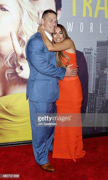 Wrestlers John Cena and Nikki Bella attend the 'Trainwreck' New York premiere at Alice Tully Hall on July 14 2015 in New York City