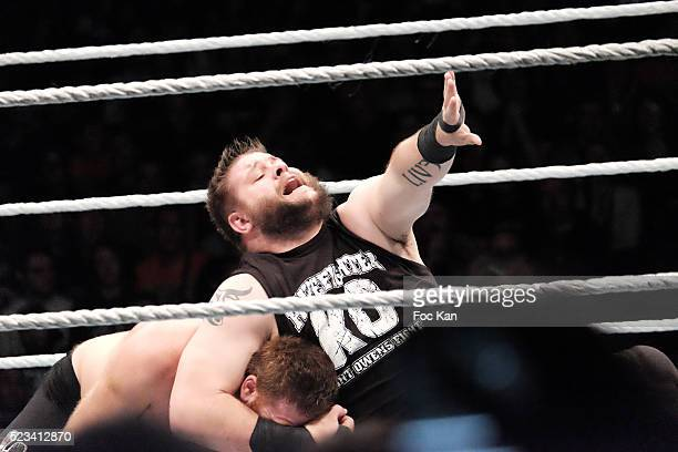 Wrestlers Kevin Owens and Sami Zain perform during 'WLIVE REVENGE' Wrestlemania Show Party at Hotel Accor Arena Bercy on April 22 2016 in Paris France