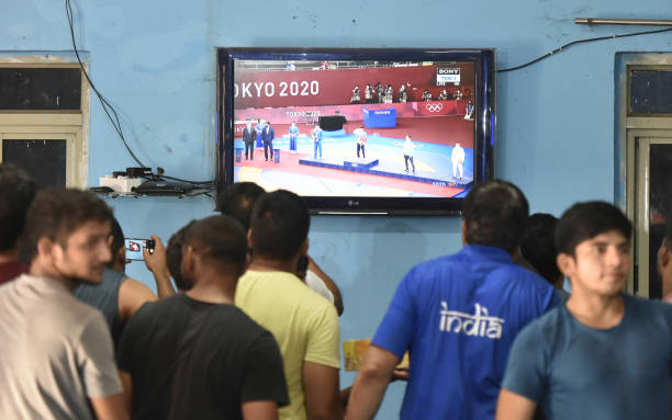 IND: Celebrations At Chhatrasal Stadium After Wrestler Ravi Dahiya Bagged Silver Medal In Tokyo Olympics