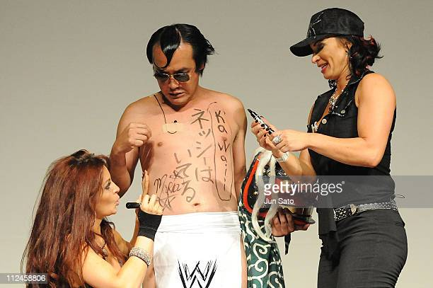 Wrestlers Maria Kanellis Comedian Kenji Tamura and Victoria attend the WWE SummerSlam Tokyo viewing party at Shinagawa Prince Hotel Stellar Ball on...