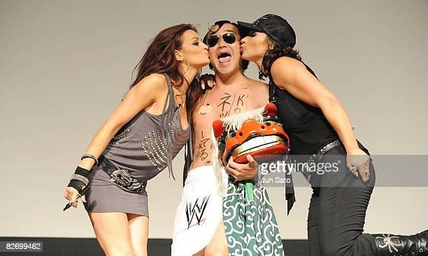 Wrestlers Maria Kanellis comedian Kenji Tamura and Victoria attend the WWE Summer Slam Tokyo viewing party at Shinagawa Prince Hotel Stellar Ball on...