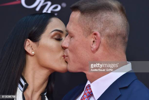 Wrestlers Nikki Bella and John Cena arrive at the 2017 ESPYS at Microsoft Theater on July 12 2017 in Los Angeles California