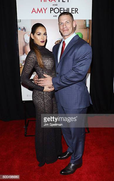 Wrestlers Nikki Bella and John Cena attend the 'Sisters' New York premiere at Ziegfeld Theater on December 8 2015 in New York City