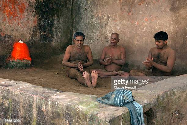Wrestlers singing Bhajans in Calcutta. West Bengal.