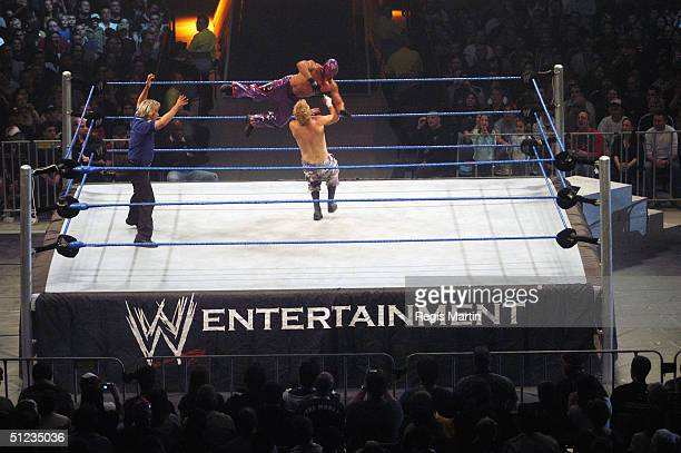 Wrestlers Spike Dudley and Rey Mysterio in action at the WWE SmackDown Superstars Return of the Deadman Tour at Vodafone Arena August 29 2004 in...