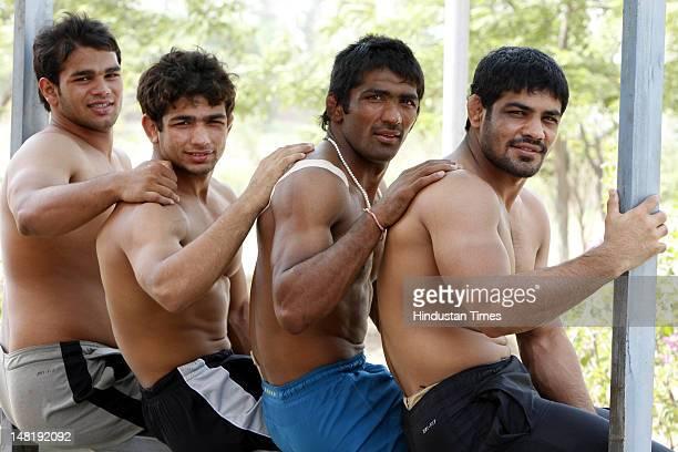 Wrestlers Sushil Kumar , Yogeshwar Dutt , Amit Kumar and Narsingh Pancham Yadav during training on June 16, 2012 at SAI center in Sonipat, India. All...