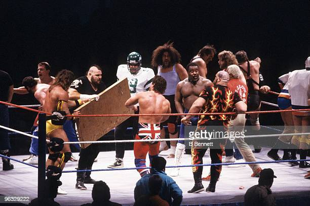 Wrestlers take part in the Royal Rumble on January 3, 1988 at the Nassau Coliseum in Uniondale, New York.