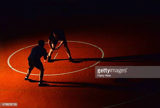 Wrestlers train before the 2014 FILA Freestyle Wrestling World Cup at The Forum on March 15, 2014 in Inglewood, California.