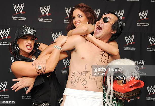 Wrestlers Victoria Comedian Kenji Tamura and Maria Kanellis attend the WWE 'Summer Slam' Tokyo viewing party at Shinagawa Prince Hotel Stellar Ball...