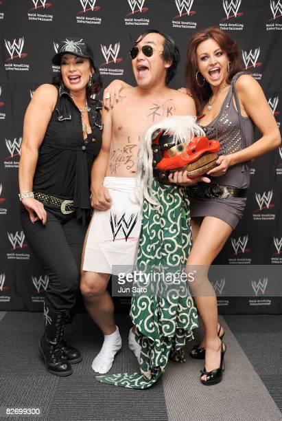 Wrestlers Victoria comedian Kenji Tamura and Maria Kanellis attend the WWE 'Summer Slam' Tokyo viewing party at Shinagawa Prince Hotel Stellar Ball...