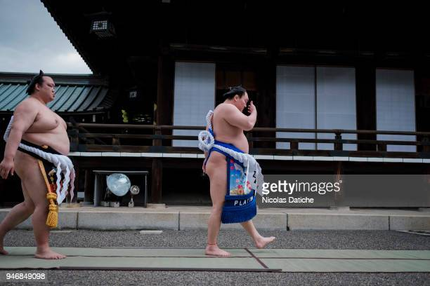 Wrestlers walk before a purification ceremony during 'Honozumo' ceremonial on April 16, 2018 in Tokyo, Japan. This annual offering of a Sumo...