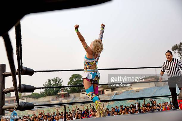 Wrestlers wrestle in the ring The first international wrestling competition was held at Dashrath Stadium in Kathmandu / Nepal 16 April 2016...