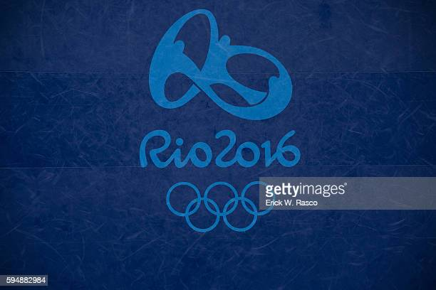 2016 Summer Olympics Aerial view of wrestling mat with RIO 2016 Olympics logo with rings before Men's Freestyle competition at Carioca Arena 2 Rio de...