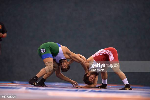 4th Islamic Solidarity Games Turkmenistan Meretmuhammet Atayev vs Morocco Chakir Ansari during the Men's Freestyle 57 kg First Round match at Heydar...