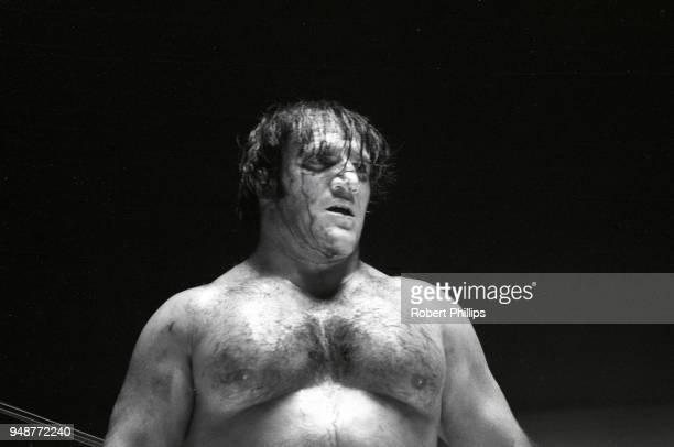 Bruno Sammartino bloody from injury during match vs Geeto Mongol at Civic Arena. Pittsburgh, PA 8/13/1971 CREDIT: Robert Phillips