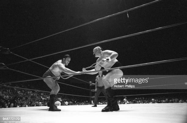 Bruno Sammartino in action vs Geeto Mongol during Mongolian Chain match at Civic Arena. Pittsburgh, PA 8/13/1971 CREDIT: Robert Phillips