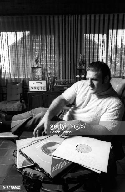Casual portrait of Bruno Sammartino listening to records during photo shoot at home. Pittsburgh, PA 8/15/1971 CREDIT: Robert Phillips