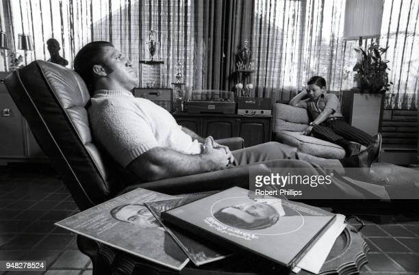 Casual portrait of Bruno Sammartino listening to records with his son David Sammartino during photo shoot at home. Pittsburgh, PA 8/15/1971 CREDIT:...