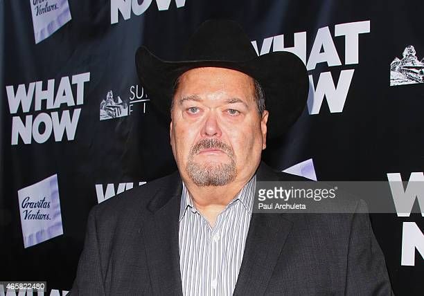Wrestling Commentator Jim Ross attends the premiere of 'What Now' at The Laemmle Music Hall on March 10 2015 in Beverly Hills California