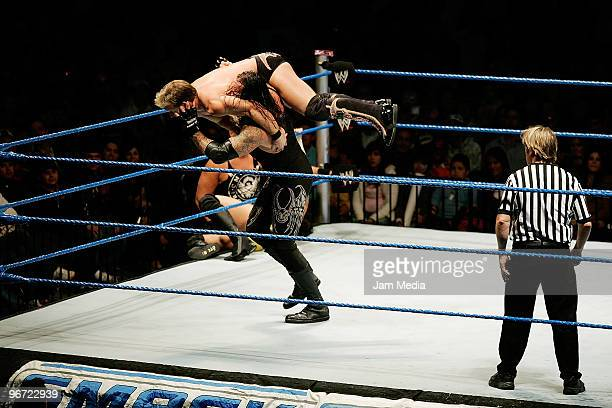 Wrestling fighters Chris Jericho and Fight Undertaker during the WWE Smackdown wrestling function at Plaza Vicente Fernandez on February 14 2010 in...