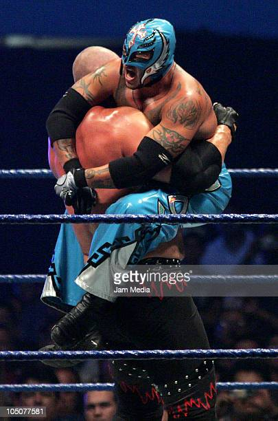 Wrestling fighters Kane and Rey Misterio fight during the WWE Smackdown Wrestling at Arena Monterrey on October 7 2010 in Monterrey Mexico Photo by...