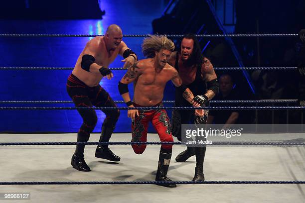 Wrestling fighters Kane Edge and Undertaker fight during the WWE Smackdown Wrestling at Arena Monterrey on May 9 2010 in Monterrey Mexico