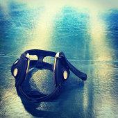 Wrestling Headgear on Mat Background