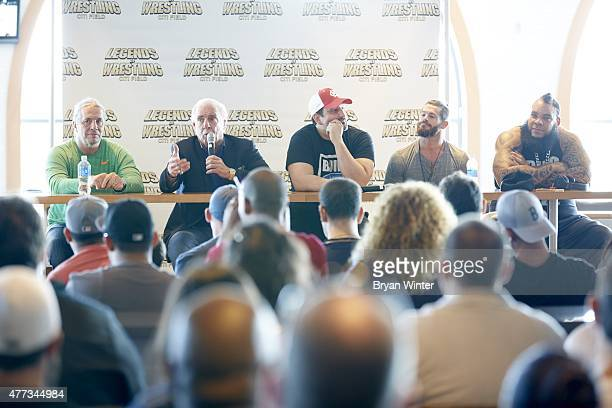 Legends of Wrestling Bret Hart Ric Flair Tommy Dreamer Matt Sydal and Tyrus during QA session at Citi Field Flushing NY CREDIT Bryan Winter