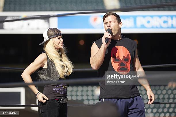 Legends of Wrestling Matt Striker and Ashley Massaro introducing themselves in ring at Citi Field Flushing NY CREDIT Bryan Winter