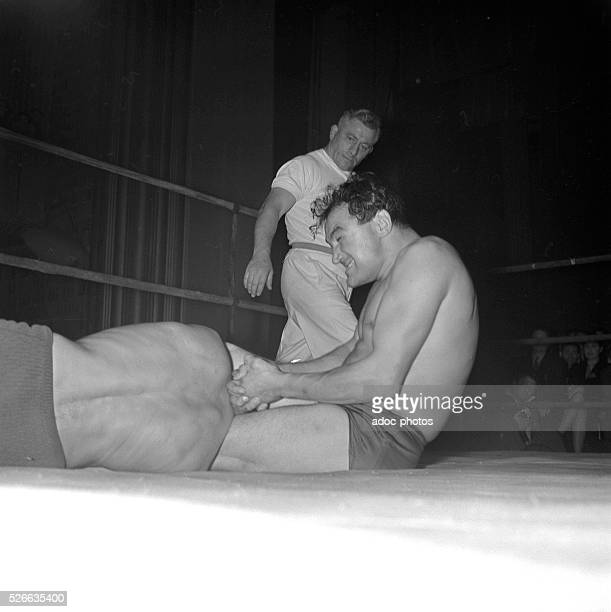 Wrestling match at the ��lys��e Montmartre in Paris In 1955