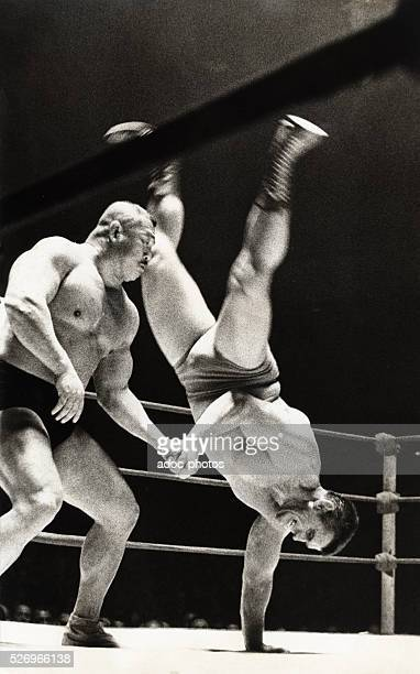 Wrestling match at the Palais des Sports in Paris Ca 1960