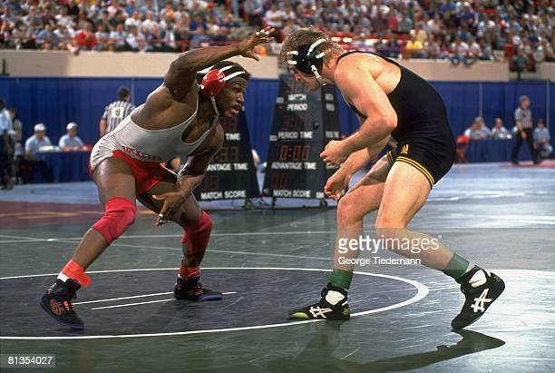 Wrestling NCAA Championships Ohio State Kevin Randleman in action vs Iowa Bart Chelesvig Oklahoma City OK 3/21/1992