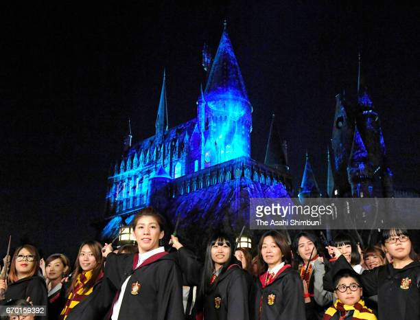 Wrestling Olympic gold medalist Saori Yoshida attends the press preview of the new night show of the Harry Potter area at the Universal Studios Japan...