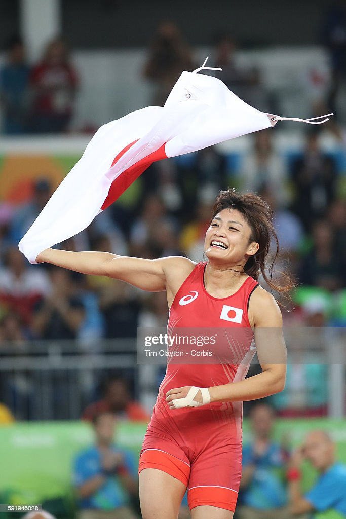 Day 12 Kaori Icho of Japan celebrates victory against Valeriia Koblova Zholobova of Russia during their Women's Freestyle 58 kg Gold Medal Final at the Carioca Arena 2 on August 17, 2016 in Rio de Janeiro, Brazil.