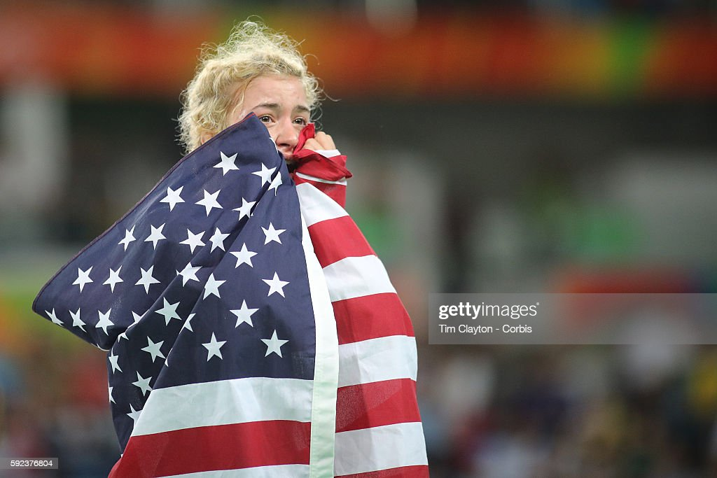 Day 13 Helen Louise Maroulis of the United States winning the Gold Medal against Saori Yoshida of Japan in the Women's Freestyle 53 kg Finals match at the Carioca Arena 2 on August 18, 2016 in Rio de Janeiro, Brazil.