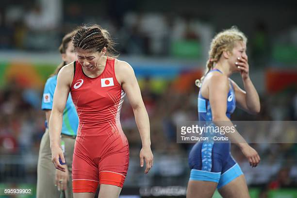 Day 13 Helen Louise Maroulis of the United States reacts after winning the Gold Medal against Saori Yoshida of Japan in the Women's Freestyle 53 kg...