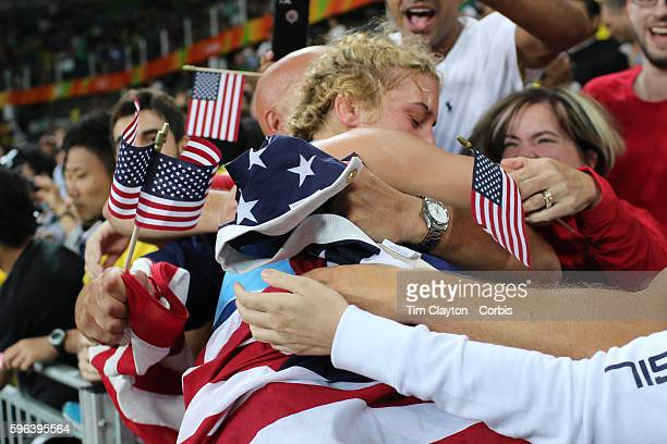 Day 13 Helen Louise Maroulis of the United States in the crowd after winning the Gold Medal against Saori Yoshida of Japan in the Women's Freestyle...