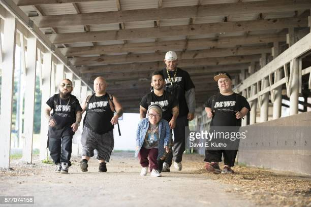 Portrait of Micro Wrestling Federation wrestlers posing during practice session photo shoot at Putnam Farm Bureau Arena Greencastle IN CREDIT David E...
