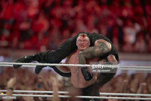 WrestleMania 31 Brock Lesnar in action vs Roman Reigns during event at Levi's Stadium Santa Clara CA CREDIT Jed Jacobsohn